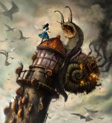 alice in wonderland  snail fight steampunk american mcgee