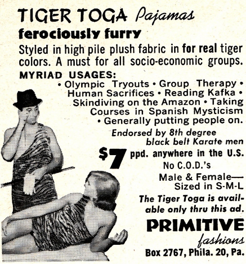 tiger toga old magazine advertisement