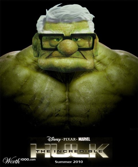 incredible hulk crossed with  Up's Carl Fredricksen disney marvel